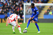 Leicester City Daniel Amartey (13) looks for options during the Premier League match between Leicester City and Stoke City at the King Power Stadium, Leicester, England on 1 April 2017. Photo by Jon Hobley.