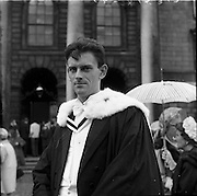 04/07/1963<br /> 07/04/1963<br /> 04 July 1963<br /> Degree day at Trinity College Dublin. Mr William L. Haslett (right) of 38 Ardenlee Gardens, Ravenhill Road, Belfast, who received the degree B.A. at the conferring at TCD, pictured after the conferring.