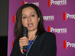 © Licensed to London News Pictures . 27/09/2015 . Brighton , UK . CAROLINE FLINT speaks at a Progress Rally fringe event at screen one of the Odeon Cinema on Brighton seafront , during the 2015 Labour Party Conference . Photo credit : Joel Goodman/LNP