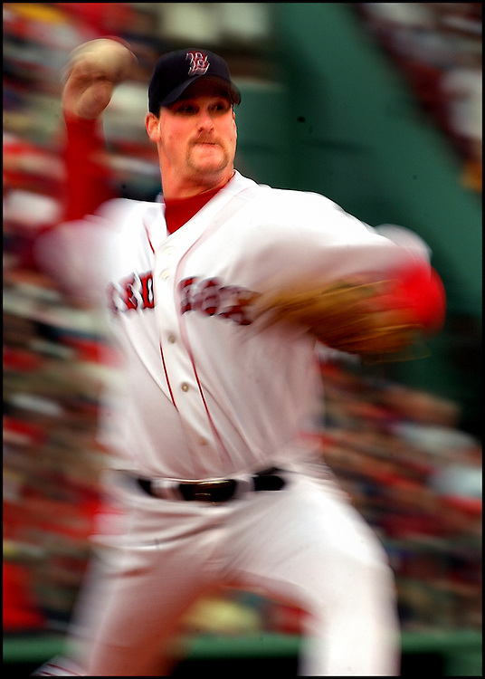 (10/14/03 Boston, MA Boston Red Sox vs NY Yankees ALCS game #5.  Derek Lowe pitches in the 1st inning.  (Staff Photo by Michael Seamans. Saved in Wednesday and Daily Photo Archive)
