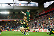 Australia's Blake Ferguson gets up to collect the high ball during the Ladbrokes Four Nations match between Australia and New Zealand at Anfield, Liverpool, England on 20 November 2016. Photo by Craig Galloway.