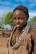 Portrait of a Hamer girl, Omovalley,Ethiopia,Africa