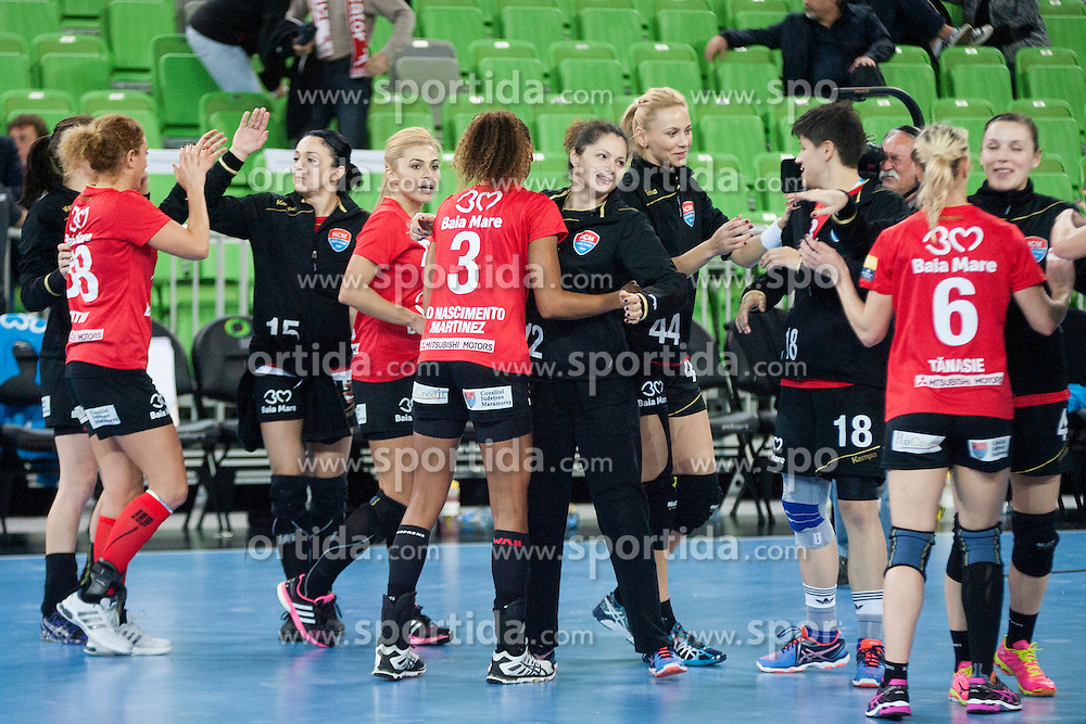 Players of HCM Baia Mare after handball match between RK Krim Mercator (SLO) and HCM Baia Mare (ROM) in 1st Round of Women's EHF Champions League 2015/16, on October 16, 2015 in Arena Stozice, Ljubljana, Slovenia. Photo by Urban Urbanc / Sportida