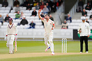 Lancashire's James Anderson appeals for a wicket during the Specsavers County Champ Div 1 match between Somerset County Cricket Club and Lancashire County Cricket Club at the County Ground, Taunton, United Kingdom on 3 May 2016. Photo by Graham Hunt.