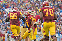 17 October 2012: Wide receiver (2) Robert Woods of the USC Trojans celebrates with (66) Marcus Martin after scoring against the UCLA Bruins during the second half of UCLA's 38-28 victory over USC at the Rose Bowl in Pasadena, CA.
