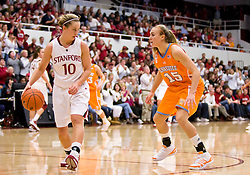December 19, 2009; Stanford, CA, USA;  Stanford Cardinal guard JJ Hones (10) is guarded by Tennessee Lady Volunteers forward Alicia Manning (15) during the second half at Maples Pavilion.  Stanford defeated Tennessee 67-52.