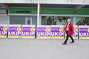 © Licensed to London News Pictures. 29/04/2014. Slough, UK. A UKIP supporter sets up placards before arrival.  NIGEL FARAGE leader of UKIP in Slough today 29 April 2014 to congratulate local activists on more than doubling the candidates the party will field in local elections. Photo credit : Stephen Simpson/LNP
