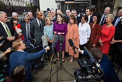 "London, UK. 25 September, 2019. Party leader Jo Swinson addresses the media before returning to Parliament with her fellow Liberal Democrat MPs on the day after the Supreme Court ruled that the Prime Minister's decision to suspend parliament was ""unlawful, void and of no effect"". Credit: Mark Kerrison/Alamy Live News"