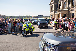 Former US president Barack Obama leaving St Andrews.