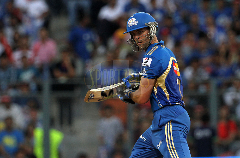 Mumbai Indian player James Franklin plays a shot during match 3 of the the Indian Premier League ( IPL) 2012  between The Mumbai Indians and the Pune Warriors India held at the Wankhede Stadium in Mumbai on the 6th April 2012..Photo by Vipin Pawar/IPL/SPORTZPICS