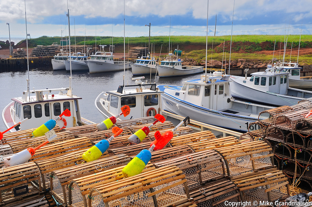 Fishing boats and lobster traps