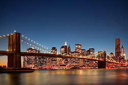 Brooklyn Bridge and the New York skyline over the East River
