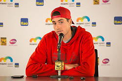March 30, 2018 - Miami, Florida, United States - John Isner, from the USA, talking to the media after his semi final match at the Miami Open in Key Biscayne. Isner defeated Del Potro 6-1, 7-6(2)  in Miami, on March 30, 2018. (Credit Image: © Manuel Mazzanti/NurPhoto via ZUMA Press)