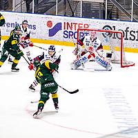 2019-11-20 | Umeå, Sweden: Björklöven (13) Fredric Andersson takes a shot in HockeyAllsvenskan during the game  between Björklöven and Västervik at A3 Arena ( Photo by: Michael Lundström | Swe Press Photo )<br /> <br /> Keywords: Umeå, Hockey, HockeyAllsvenskan, A3 Arena, Björklöven, Västervik, mlbv191120