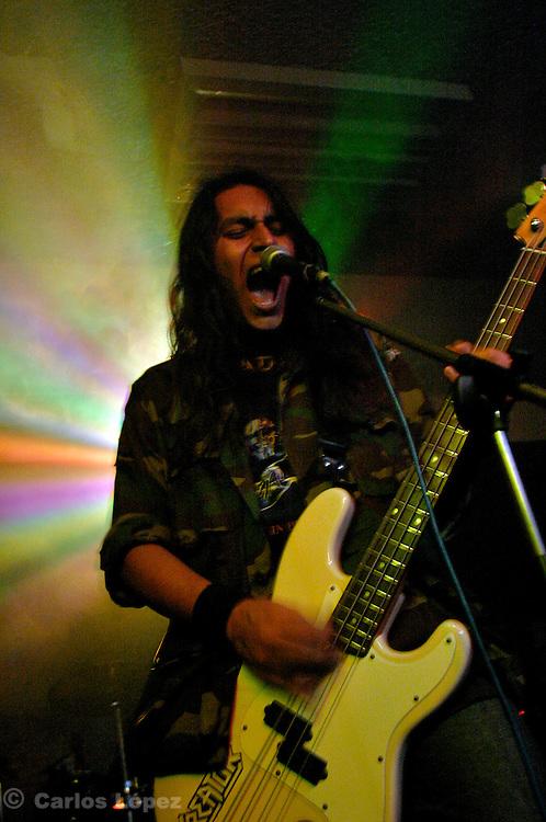 Singer of black metal band Black heaven during concert.<br /> <br /> GRUPO DE DEATH METAL BLACK HEAVEN.EN CONCIERTO DE MUSICA METAL EN CAILLOMA