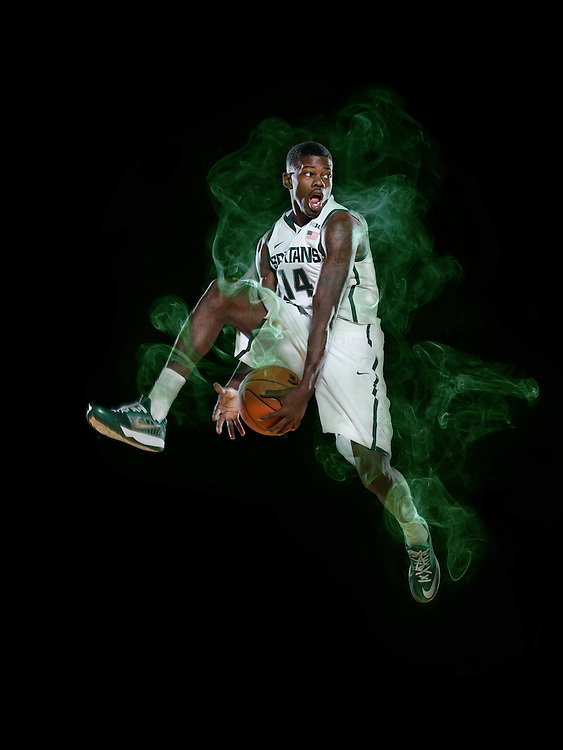 Eron Harris, Promotional Athlete Portrait for Michigan State University Athletic Department.<br /> <br /> Photo Copyright: Matthew Mitchell Photography / MSU Athletic Communications