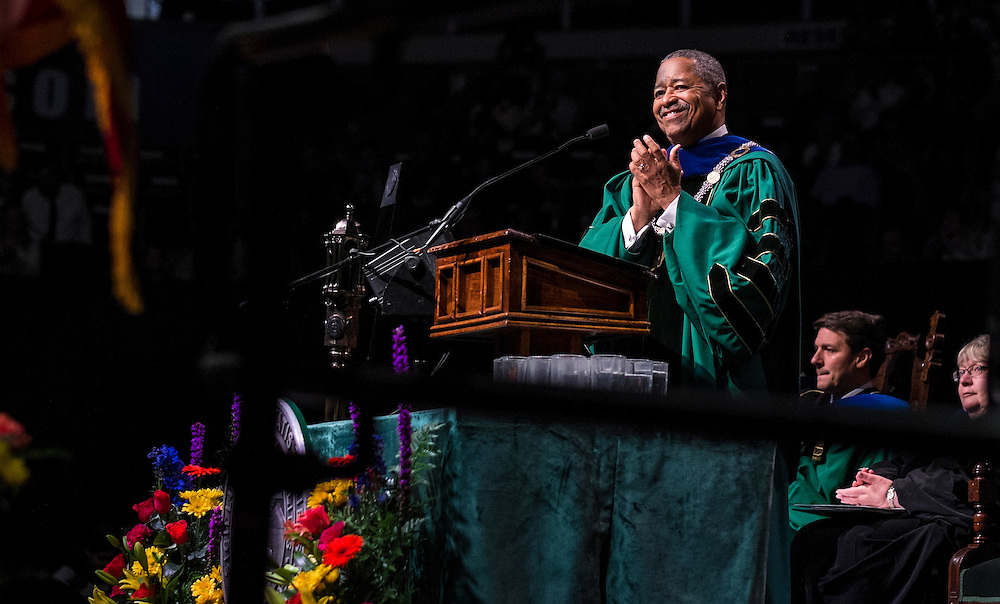 Ohio University President Roderick McDavis applaudes the university's graduate students at the start of Graduate Commencement on Friday, May 1, 2015.  Photo by Ohio University  /  Rob Hardin