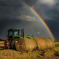 Farm equipment in a thunderstorm, Oklahoma.