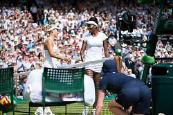LONDON, ENGLAND - Thursday, July 7, 2016:  Angelique Kerber (GER) after winning the Ladies' Singles - Semi-finals match on day eleven of the Wimbledon Lawn Tennis Championships at the All England Lawn Tennis and Croquet Club. (Pic by Kirsten Holst/Propaganda)