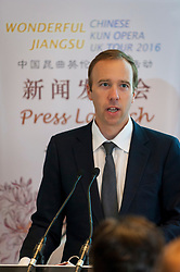 © Licensed to London News Pictures. 26/09/2016. London, UK. Matt Hancock, Minister for Culture, speaks at the press call for the SuZhou Kun Opera theatre ahead of the 400th year anniversary special performance of The Peony Pavilion in memory of Tang Xianzu, the 16th century Ming dynasty's master playright, and William Shakespeare.  Held over three nights, the opera, known as China's Romeo and Juliet, will be performed at the Troxy theatre from 28 to 30 September.  Photo credit : Stephen Chung/LNP