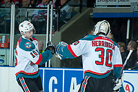 KELOWNA, CANADA - APRIL 8: Kole Lind #16 and Michael Herringer #30 of the Kelowna Rockets celebrate a second period goal against the Portland Winterhawks on April 8, 2017 at Prospera Place in Kelowna, British Columbia, Canada.  (Photo by Marissa Baecker/Shoot the Breeze)  *** Local Caption ***