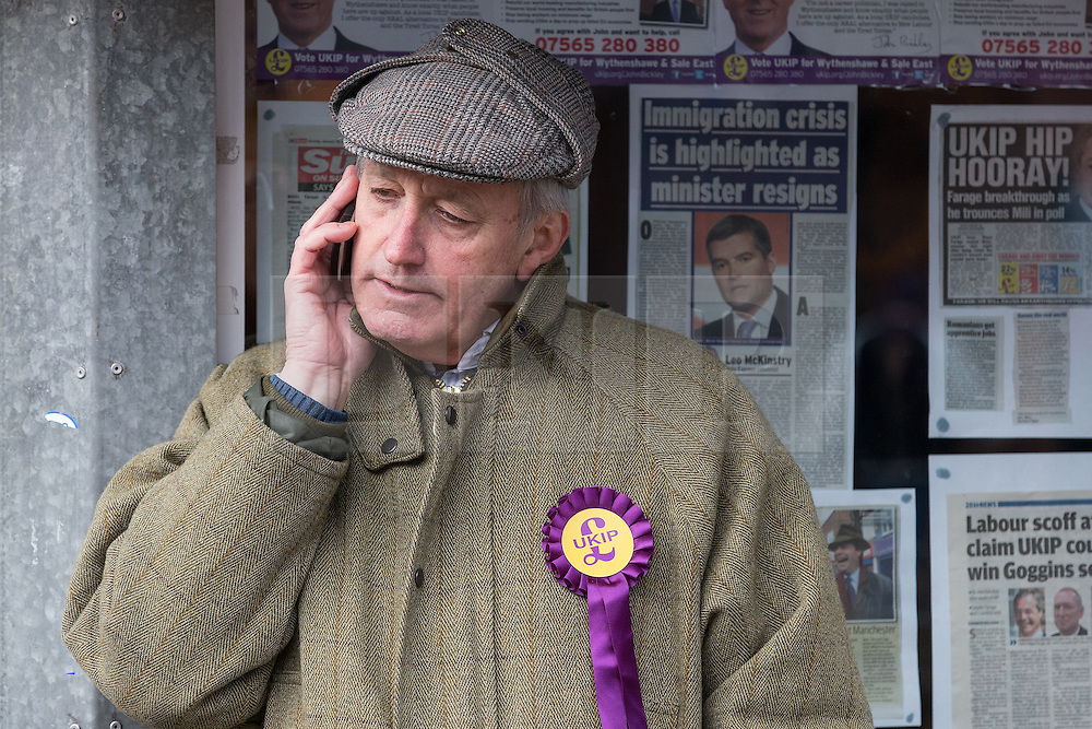 © Licensed to London News Pictures . 10/02/2014 . Sale , UK . Neil Hamilton outside the UKIP campaign office in Sale . Neil Hamilton , Deputy Chairman of UKIP , and his wife , Christine Hamilton , campaign for UKIP on the trail for the Wythenshawe and Sale East by-election , today (Monday 10th February 2014) . UKIP 's candidate , John Bickley , is widely predicted to come second . The election was called after the death of the Labour MP , Paul Goggins . Photo credit : Joel Goodman/LNP