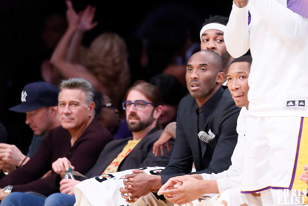 15 March 2015: Los Angeles Lakers guard Kobe Bryant (24) is seen on the bench during the Atlanta Hawks 91-86 victory over the Los Angeles Lakers, at the Staples Center, Los Angeles, California, USA.