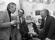 Noel Purcell Celebrates His 81st Birthday.23.12.1981..12.23.1981..23rd December 1981..Noel Purcell celebrates his 81st birthday in the Adelaide Hospital..Having a drop of the hard stuff with friends, Gay Byrne,Hal Roache and Joe Lynch.