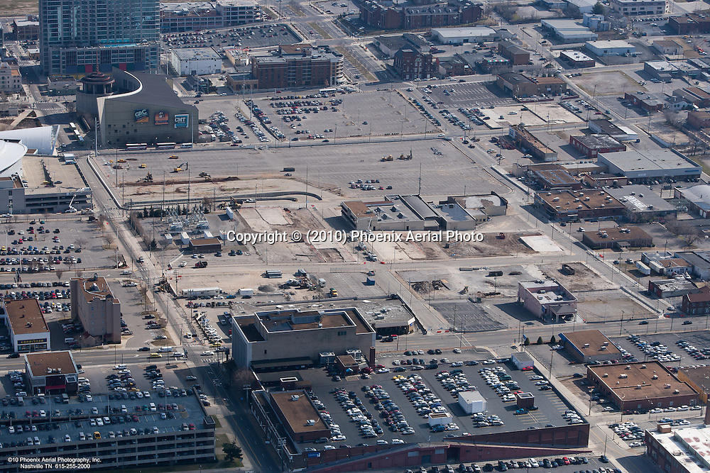 Aerial photograph of the Music City Center, located in Nashville Tennessee, during construction.