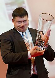 Best coach Andrej Hajnsek   with his Athlete-coach  of the Year Award during the Slovenia's Athlete awards ceremony by Slovenian Athletics Federation AZS, on November 12, 2008 in Hotel Mons, Ljubljana, Slovenia.(Photo By Vid Ponikvar / Sportida.com) , on November 12, 2010.