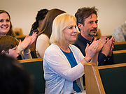 26 MAY 2019 - WATERLOO, IOWA: US Senator KIRSTEN GILLIBRAND (D-NY) and her husband, JONATHAN GILLIBRAND, at Mt. Carmel Missionary Baptist Church in Waterloo Sunday. Sen. Gillibrand is on her 5th trip to Iowa this week to support her candidacy to be the Democratic nominee for the US Presidency. Iowa traditionally hosts the the first selection event of the presidential election cycle. The Iowa Caucuses will be on Feb. 3, 2020. Mt. Carmel Missionary Baptist Church was established in 1921 and is the third oldest African-American church in Waterloo. Waterloo has the largest African-American community in Iowa.             PHOTO BY JACK KURTZ