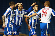 Brighton & Hove Albion centre forward Sam Baldock celebrates his goal at 1-0 during the EFL Sky Bet Championship match between Brighton and Hove Albion and Wolverhampton Wanderers at the American Express Community Stadium, Brighton and Hove, England on 18 October 2016. Photo by Bennett Dean.