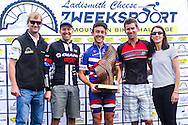Ladismith Cheese 7Weekspoort MTB Challenge men's 82km podium. From left to right: Ronaldo Groenewald (CEO Ladismith Cheese), David Garret (2nd), Dylan Rebello (1st), Pieter Gildenhuys (3rd) and Shani Morton (Western Province Cycling). On the 1st October 2016<br /> <br /> Photo by:    /Oakpics/ SPORTZPICS<br /> <br /> <br /> {dem16gst}
