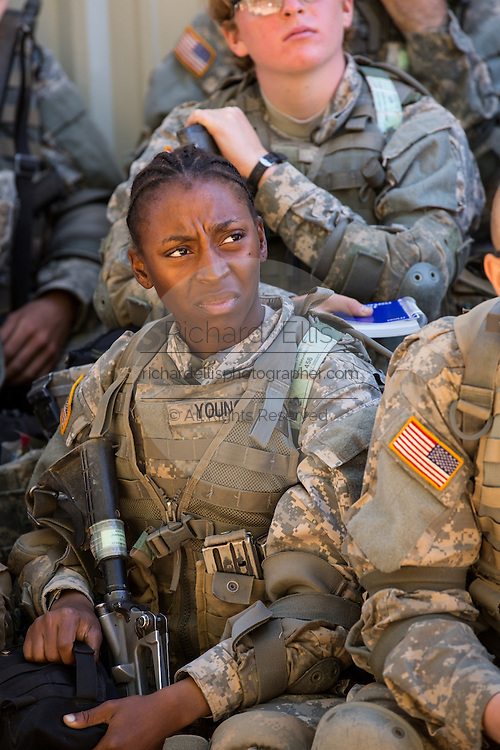 Female soldiers at basic combat training listen to instructions during boot camp at Fort Jackson September 27, 2013 in Columbia, SC.