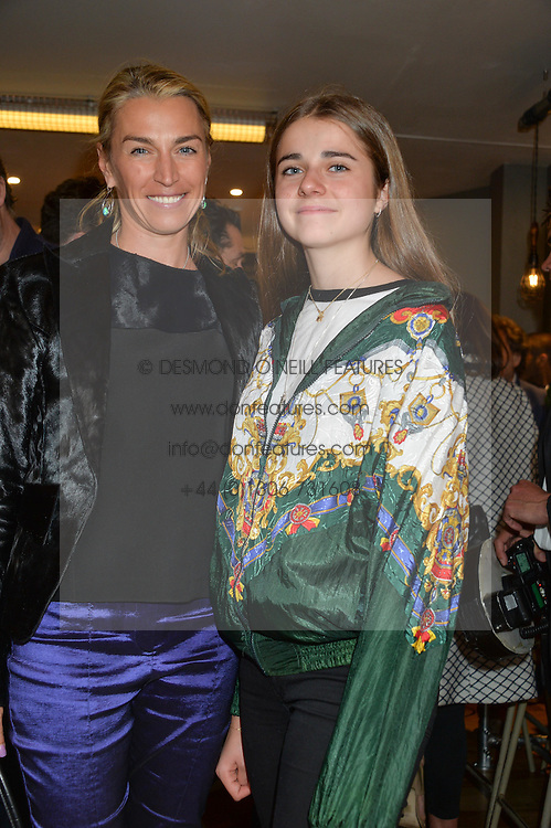 Left to right, ASSIA WEBSTER and her daughter NIKKA WEBSTER at a party to celebrate the launch of Top Dog at 48 Frith Street, Soho, London on 27th May 2015