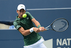 August 9, 2018 - Toronto, Ontario, Canada - NOVAK DJOKOVIC of Serbia n action in his third round match vs.S. Tsitsipas in the Rogers Cup tennis tournament in Toronto Canada. (Credit Image: © Christopher Levy via ZUMA Wire)
