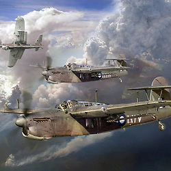Digital illustration depicting British Fairey Barracuda torpedo dive bombers of 814 squadron Fleet Air Arm over the Indian Ocean 1945