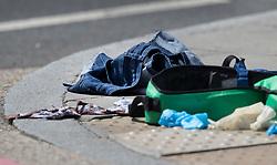 © Licensed to London News Pictures. 04/06/2017. London, UK. Abandoned emergency medical equipment and blood stained clothing lies on Southwark Street after an attack by three men killed seven and injured at least 48. Police shot three attackers dead after they deliberately drove their van at people on London Bridge and then stabbed drinkers at bars in nearby Borough Market. Photo credit: Peter Macdiarmid/LNP