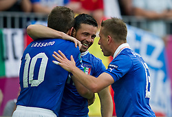 Italy's Antonio Di Natale (nr11) celebrates with team mates after scoring during their the UEFA EURO 2012 Group C football match between Spain and Italy at Gdansk Arena in Gdansk on June 10, 2012...Poland, Gdansk, June 10, 2012..Picture also available in RAW (NEF) or TIFF format on special request...For editorial use only. Any commercial or promotional use requires permission...Photo by © Adam Nurkiewicz / Mediasport