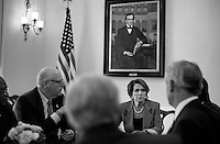 WASHINGTON, DC - OCTOBER 16:  On the 16th day of a government shutdown with debt default hours away, House Minority Leader Nancy Pelosi (D-CA) leads a meeting of House Democratic leadership in her office discussing the bill soon to come to the House floor for a vote concerning the ending of a federal government shutdown and a temporary raise to the debt ceiling, on Capitol Hill Wednesday October 16, 2013. (Melina Mara/The Washington Post)