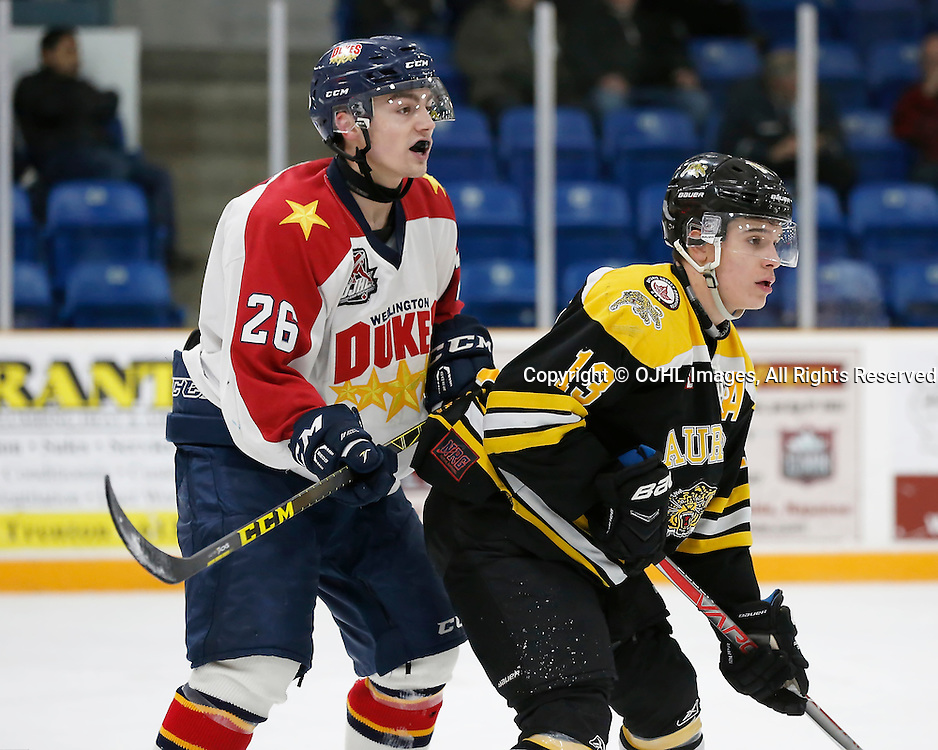 TRENTON, ON - JAN 24,  2017: Ontario Junior Hockey League action game between Aurora and Wellington at the 2017 Winter Showcase, Keegan Ferguson #26 of the Wellington Dukes and Carmine Alberga #13 of the Aurora Tigers during the second period<br /> (Photo by Amy Deroche / OJHL Images)