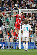 Keylor Navas (Real Madrid) and Robert Lewandowski (Bayern Munich ) during the UEFA Champions League, semi final, 2nd leg football match between Real Madrid and Bayern Munich on May 1, 2018 at Santiago Bernabeu stadium in Madrid, Spain - Photo Laurent Lairys / ProSportsImages / DPPI