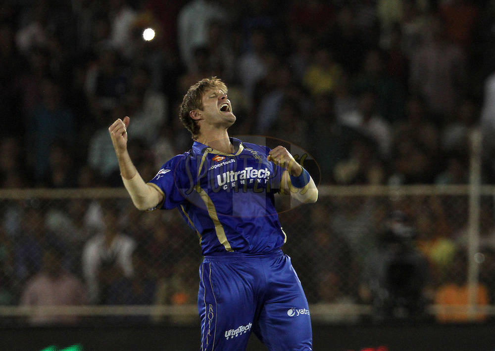 Shane Watson captain of the Rajasthan Royals celebrates after winning the match 25 of the Pepsi Indian Premier League Season 2014 between the Rajasthan Royals and the Kolkata Knight Riders held at the Sardar Patel Stadium, Ahmedabad, India on the 5th May  2014<br /> <br /> Photo by Vipin Pawar / IPL / SPORTZPICS      <br /> <br /> <br /> <br /> Image use subject to terms and conditions which can be found here:  http://sportzpics.photoshelter.com/gallery/Pepsi-IPL-Image-terms-and-conditions/G00004VW1IVJ.gB0/C0000TScjhBM6ikg