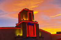 Neon trim along the building, Kelly's Brew Pub, a landmark building (the old Jones Motor Company, built in 1939), Nob Hill, Albuquerque, New Mexico USA.