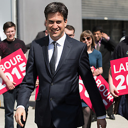 © Licensed to London News Pictures . 21/04/2015 . Manchester , UK . ED MILIBAND outside Manchester Metropolitan University's Brooks Building following a speech and Q&A . Photo credit : Joel Goodman/LNP