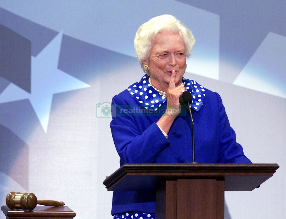 Former first lady Barbara Bush, wife of former President George H.W. Bush and mother of former President George W. Bush, died Tuesday at her home in Houston. She was 92. Barbara Bush had been in failing health, suffering from congestive heart failure and chronic obstructive pulmonary disease. George and Barbara, who celebrated their 73rd wedding anniversary on Jan. 6, hold the record for the longest-married presidential pair. Mrs. Bush was known for her wit and emphasis on family. One of her primary causes was literacy. She founded the Barbara Bush Foundation for Family Literacy in 1989 to carry forth her legacy in the cause for literacy. PICTURED: Aug. 1, 2000 - Philadelphia, Pennsylvania U.S. - BARBARA BUSH signals for quiet as she prepares to introduce her son and GOP presidential nominee George W. Bush at the Republican National Convention in Philadelphia, Pennsylvania on Tuesday evening. (Credit Image: © Philadelphia Daily News/TNS/ZUMAPRESS.com)