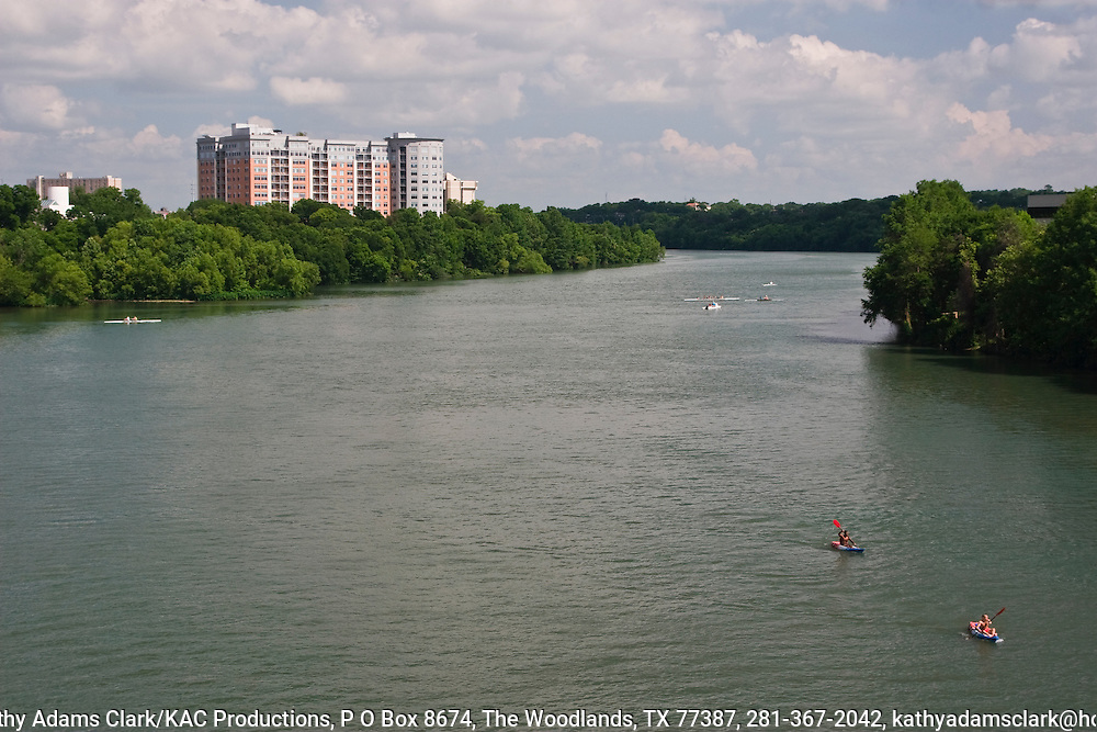 Town Lake, in downtown Austin, Texas, was created by damming the Colorado River. Wise development created a people-friendly linear park.  Hike and bike paths line the lake along with parks, restaurants, hotels, and condomeniums. Water sports such as canoeing, kayaking, and rowing are popular activities on the lake.