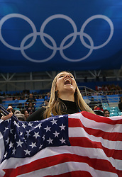 February 22, 2018 - Gangneung, South Korea - DANNI WYSOCKI of Chicago cheers for the USA team during Ice Hockey: Women's Gold Medal Game against Canada at Gangneung Hockey Centre during the 2018 Pyeongchang Winter Olympic Games.  (Credit Image: © Jon Gaede via ZUMA Wire)