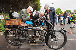 "© Licensed to London News Pictures. 24/05/2015. Warmley, South Gloucestershire UK.  Annual rally of vintage Douglas Motorcycles at Kingswood Heritage Museum.  The world famous Douglas bikes were built in Kingswood from 1907 to 1957. Some 25000 were constructed for military use in the First World War. The bikes were regular winners of the Isle of Man TT races. Bill Douglas, great grandson of the founders of the firm, said: ""It is always a stirring sight to see the bikes in action, and we expect a big turnout around the area to watch the cavalcade"". Photo credit : Simon Chapman/LNP"