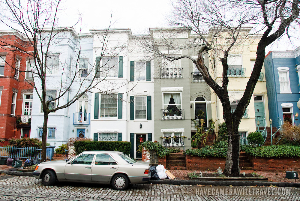 Typical Georgetown row houses in Washington DC